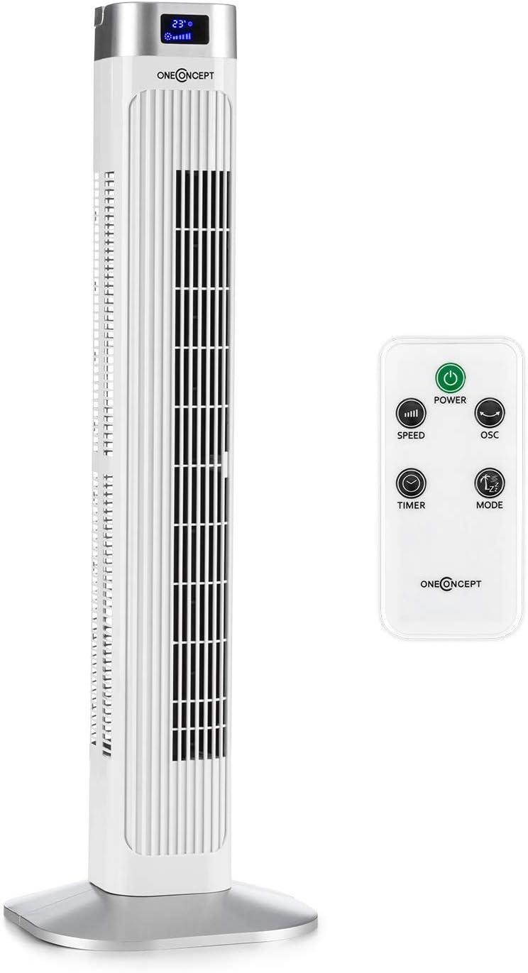 Oneconcept Hightower 2G – Ventilador vetical, Muy bajo Consumo, 42 W de Potencia, 45° de oscilación, caudal de 1.807 m³/h, programable hasta 12 Horas, 3 Modos de Funcionamiento, Blanco