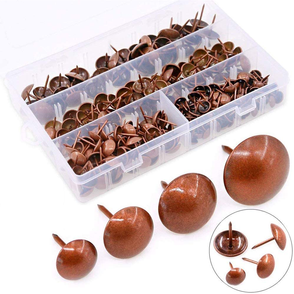 Hilitchi 280-Pieces [4-Size] Antique Red Copper Tacks Bronze Nail Pins Upholstery Nail Tacks Furniture Thumb Tack Pins Assortment Kit - Size Include: 7/16'' 9/16'' 5/8'' 3/4''