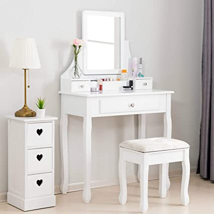 Mecor Vanity Table Set w/Square Mirror,Dressing Table Cushioned Stool&3  Drawers,3 Removable Dividers Bedroom Makeup Table White
