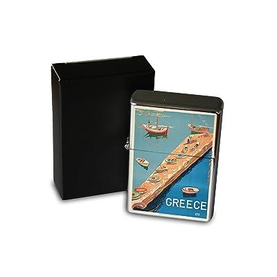 Briquet Chromé Essence Agence Voyage Port jetée Grèce Rarement Imprimé