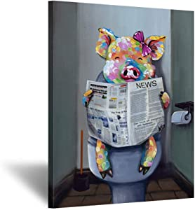 Kreative Arts Funny Animal Painting Wall Decor Giclee Canvas Art Cute Pig Reading Newspaper on Toilet Painting Framed Prints Pictures to Hang for Bathroom Walls Decor 24x32inch