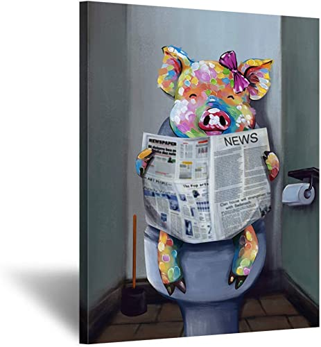 Kreative Arts Funny Animal Painting Wall Decor Giclee Canvas Art Cute Pig Reading Newspaper on Toilet Painting Framed Prints Pictures to Hang