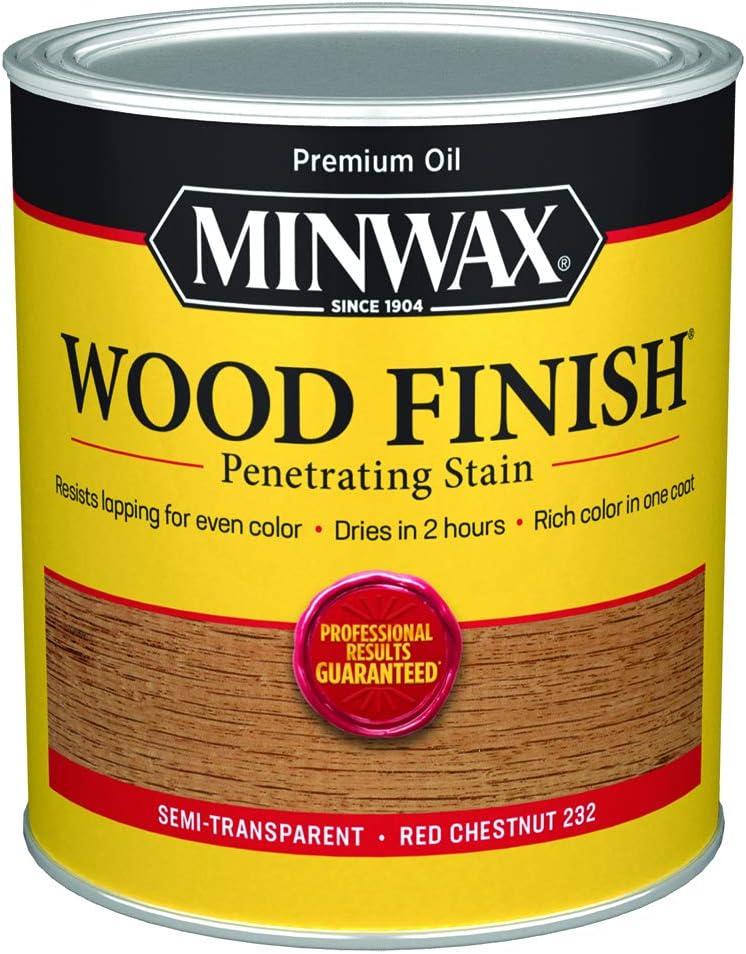 Minwax 700464444 Wood Finish Penetrating Stain, quart, Red Chestnut