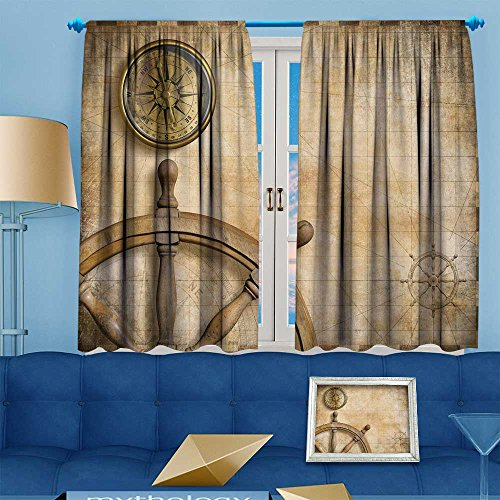 VROSELV Whale Decor Collection,steer wheel and compass with vintage nautical map,Window Treatments for Bedroom Curtain 2 Panels Set, 72'' W x 45'' L by VROSELV