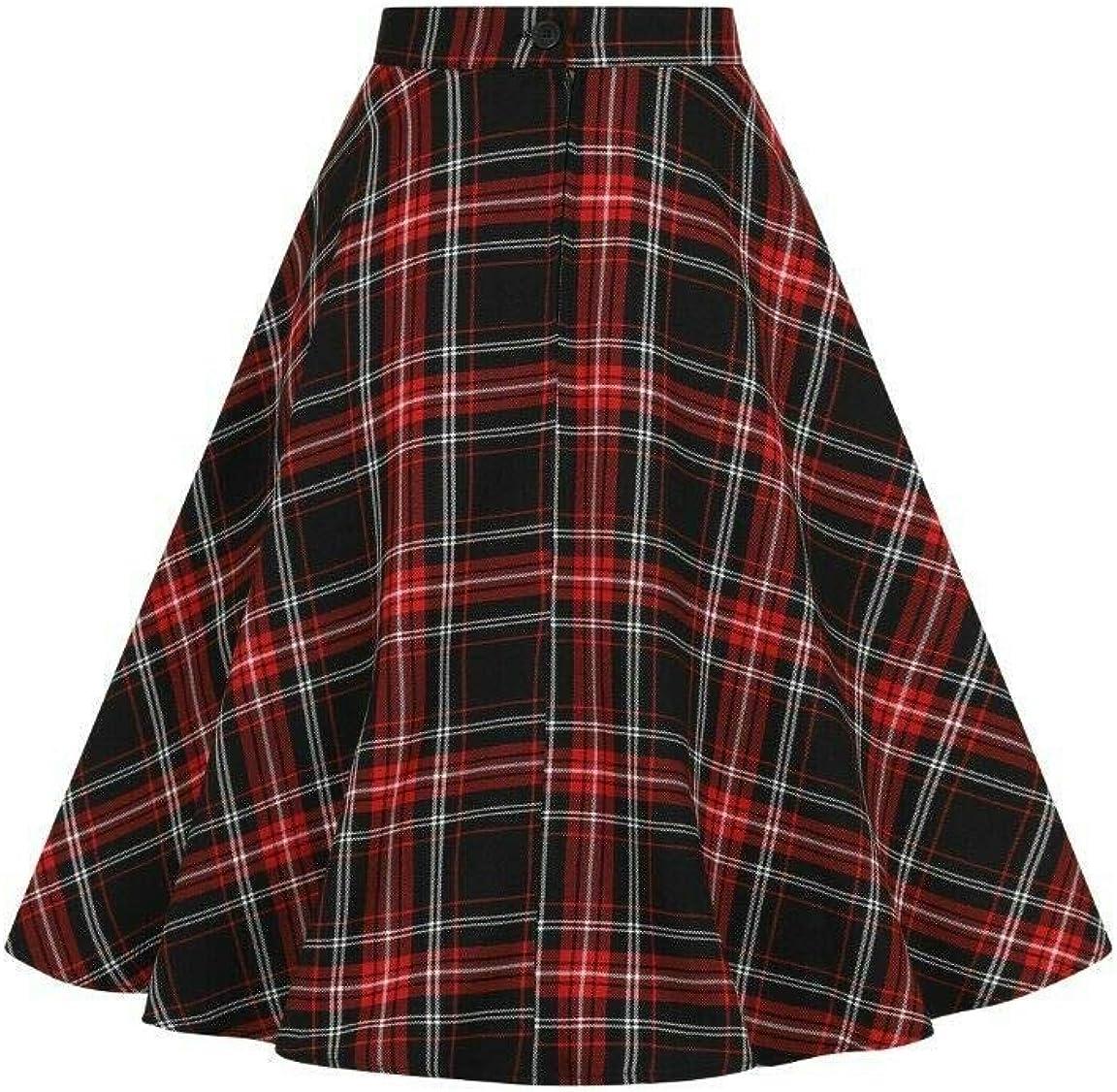 Hell Bunny Islay Checked Tartan 50s Vintage Retro Rockabilly Flare Skirt Red