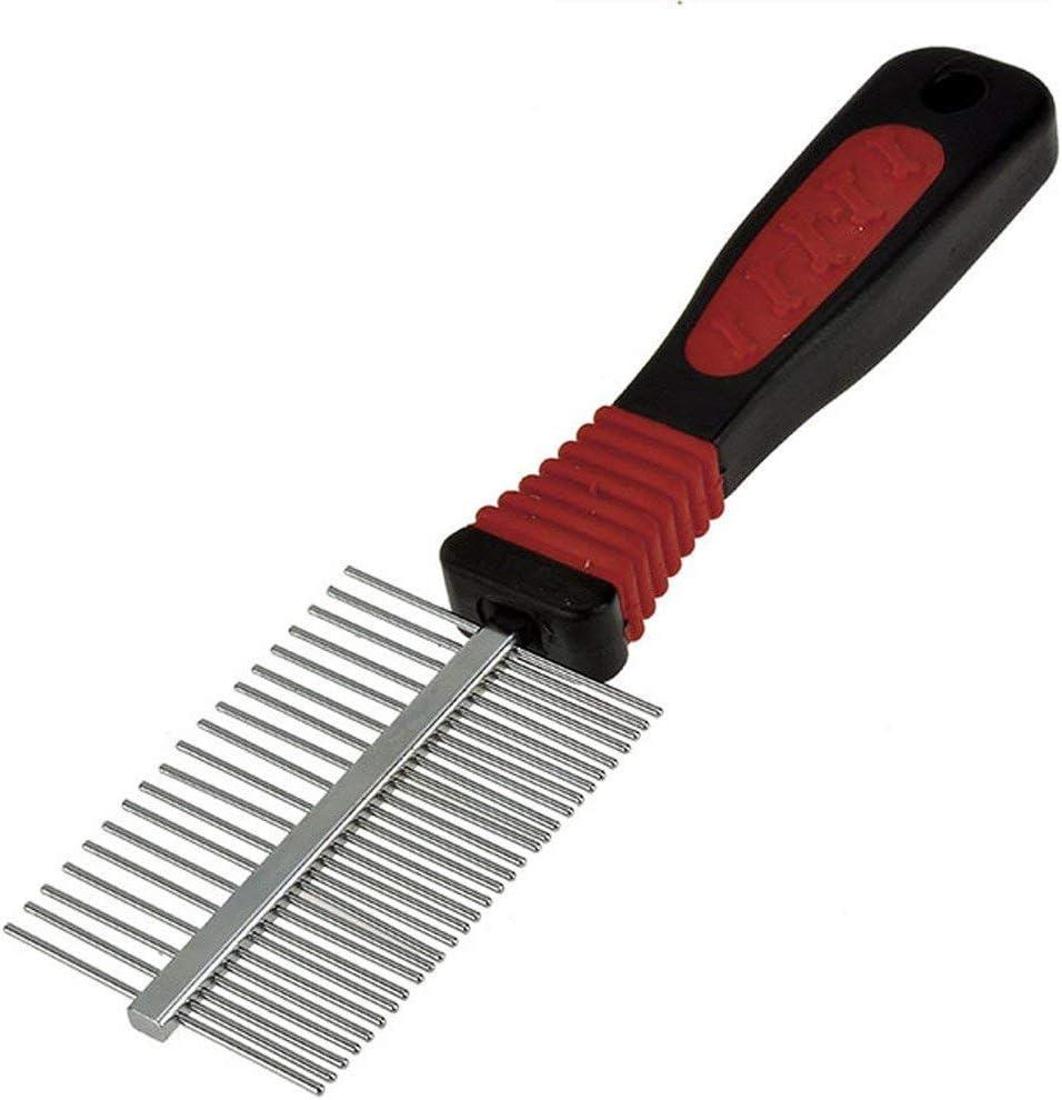 peine de acero inoxidable con puas estrechas y amplias, mango de plastico de color negro y rojo