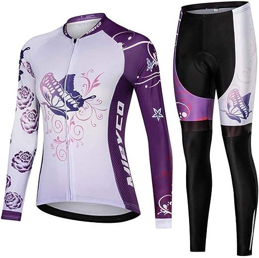 YDJGY Conjunto Jersey Ciclismo Femenino, Traje Montar En Bicicleta MTB Manga Larga para Mujer Ropa Deportiva Al Aire Libre para: Amazon.es: Jardín