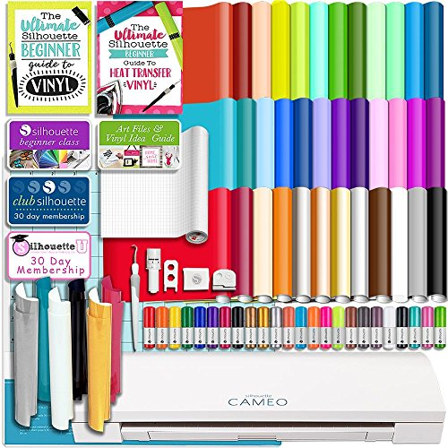 Silhouette White Cameo 3 Bluetooth Starter Bundle with 36 12x12 Oracal Premium Vinyl Sheets, Siser Easyweed T-Shirt Vinyl, Membership, Transfer Paper, Guide, Class, 24 Sketch Pens (Best Vinyl Cutting Machine For Small Business)