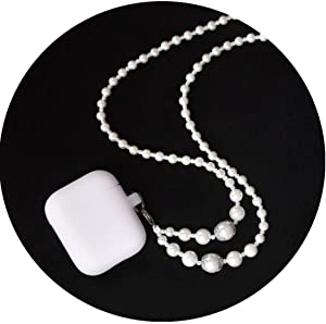 UseeTech Protective Silicone Case Compatible with Airpods Apple Bluetooth Headphones Cover Skin Adjustable Length White Pearl Necklace Fashion Jewelry Girls Women Wearable Technology