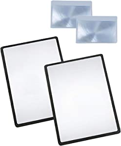 Magpro Page Magnifying Sheet 3X PVC Lightweight Fresnel Lens with 2 Bonus Card Magnifiers, Magnifying Glass for Reading Small Patterns, Maps and Books