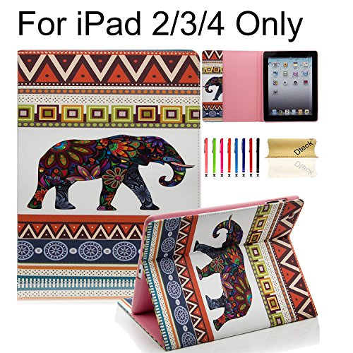 (iPad Case, iPad 2/3/4 Case, Dteck(TM) Cartoon Cute PU Leather [Kickstand] Flip Case with Cards Slots for Apple iPad 4 with Retina Display & iPad 2 & iPad 3 (01 Elephant))