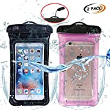 """ABNER (2pack) Universal Waterproof Floating phone Case Dry Bag smartphone Pouch for IPhone 7/7P 6s/ 6P, SE 5S/ 5C/ 5, Galaxy S8/S7/S6 Edge, Note 5/4, LG G6/G5,HTC 10,Sony Nokia up to 6.0"""""""