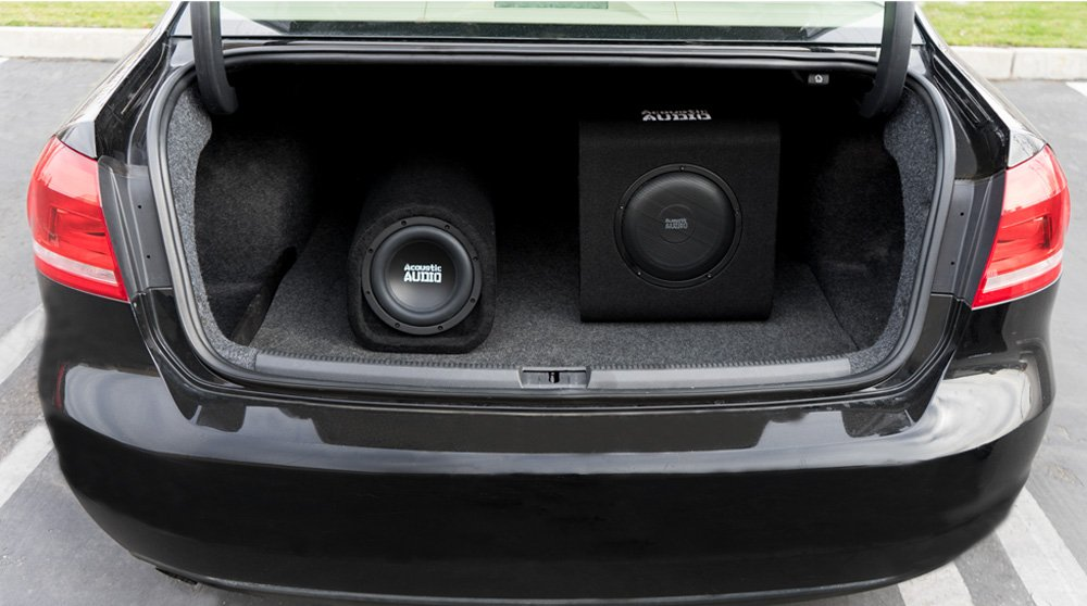 Acoustic Audio by Goldwood ACA8T Powered Amplified 8 Car Subwoofer 400W with Wiring Kit and Remote Level Control Black Goldwood Sound Inc.