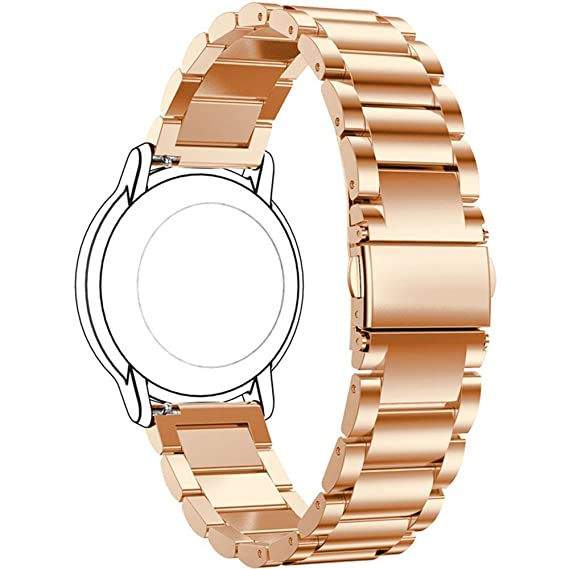 Replacement 3 Beads Stainless Steel Bands for Fossil Q Wander Gen 2 Touchscreen Smartwatch (Rose Gold)