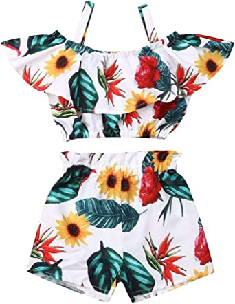 Toddler Girls Clothes Floral Shirt Tank Tops+Short Pants Sunsuit Kids Outfit Set