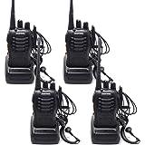 QITAO® BaoFeng talkie-walkie 400-470 MHz radio bidirectionnelle rechargeable longue portée Casque Construit en torche LED BF-888s (4PCS)
