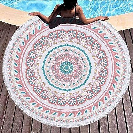 xkjymx Toalla de Playa Redonda de Microfibra Toalla de baño ...