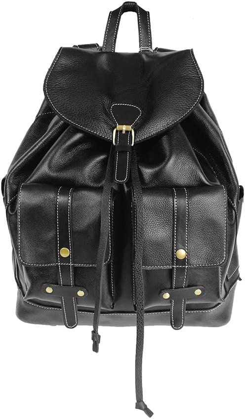 KIMSAI Mens and Womens First Layer Soft Leather Casual Backpack Simple Casual Student Bag Simple Trend Light Travel Bag Multi-Functional Mens Backpack Large Capacity Backpack,Black,311738CM
