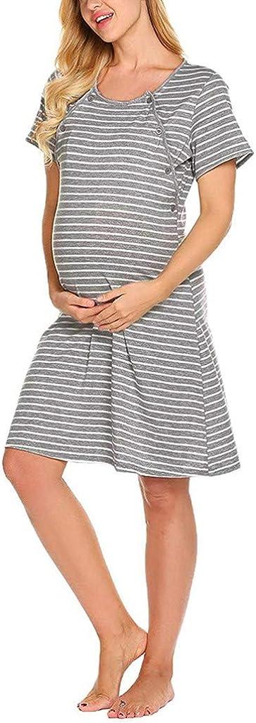 Yesmile Umstandskleid Stillnachthemd Damen Nachthemd Baumwolle Umstandsmode Kurzarm Umstandsnachthemd f/ür Schwangere und Stillzeit