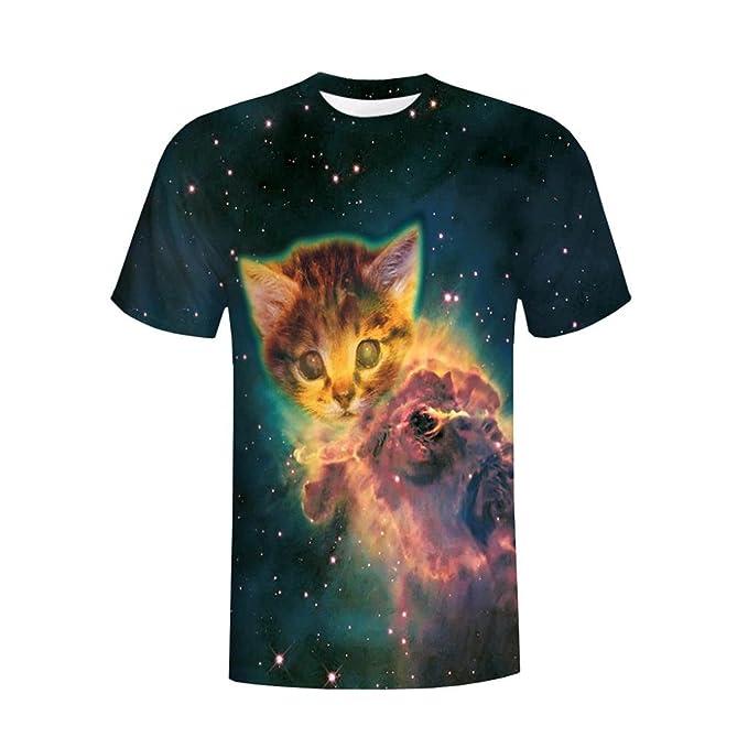d5ba44da27b5e4 Gusspower Herren Freizeit T-Shirt Modisch 3D Printing Tees Shirt Kurzarm O- Ausschnitt Grün