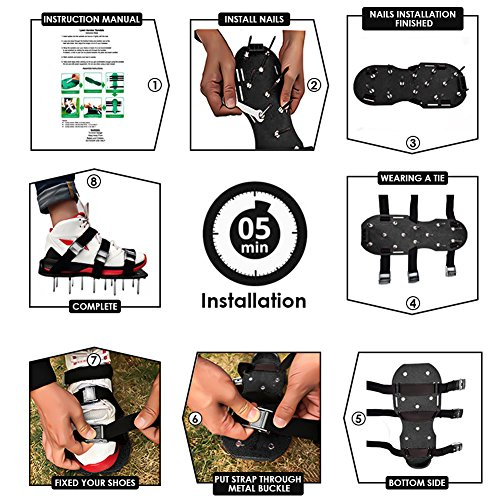 MultiOutools Lawn Aerator Shoes Spiked Aerating Lawn Sandals Ripper Gardening Tool for Loosening Lawn &Yard Soil-26 Steel Spikes, 4 Secure Woven Straps &4 Zink Alloy Buckles-One Size Fits All (Black) by Multi Outools (Image #4)