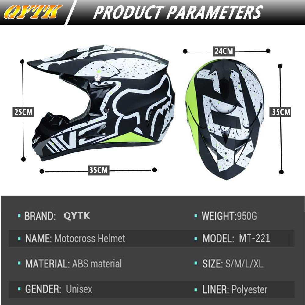 Full face Motocross Helm Sport Adventure Racing Motorrad-Helm Motocross Schutzhelm MTB Schutz Sicherheit Helm mit Handschuhe Maske Brille,S52~53CM QYTK/® MT-221 Integralhelm Motorradhelm