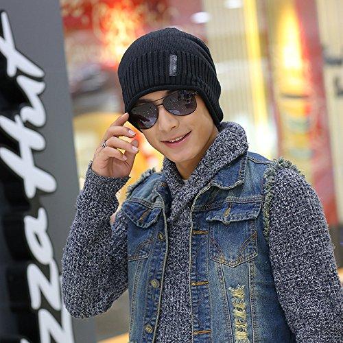 Tapa Sombreros Letras Invierno 1 4 Sombrero través de Maozi a Impreso Abajo esquí otoño Tela hacia Hombres Tejido Sombrero Rayas zA4wTqnZx