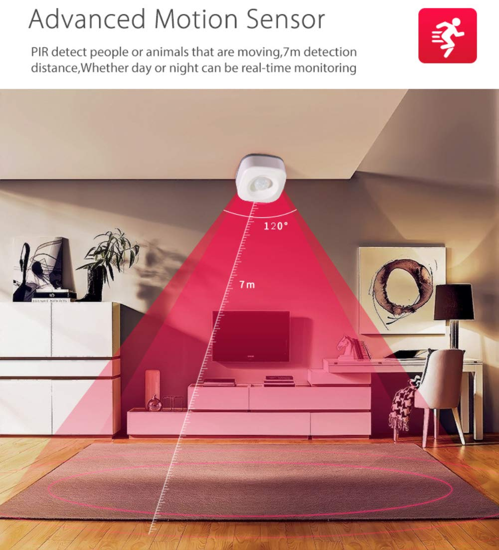 Edhua Sensore di Movimento PIR Compatibile Alexa,rilevatore di Allarme per sensore di Movimento PIR Intelligente Wi-Fi per la Sicurezza Domestica dellautomazione Domestica