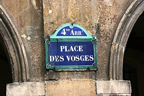(Home Comforts Peel-n-Stick Poster of Place De Vosges Street Sign Paris Poster 24x16 Adhesive Sticker Poster Print)