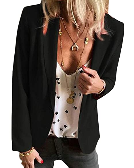 18dbec59500 Fensajomon Womens Casual Solid Plus Size Slim Fit Formal Work Blazer Jacket  Suit Coat Black 2XL
