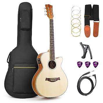 Vangoa - Guitarra eléctrica acústica con bolsa de guitarra, correa ...
