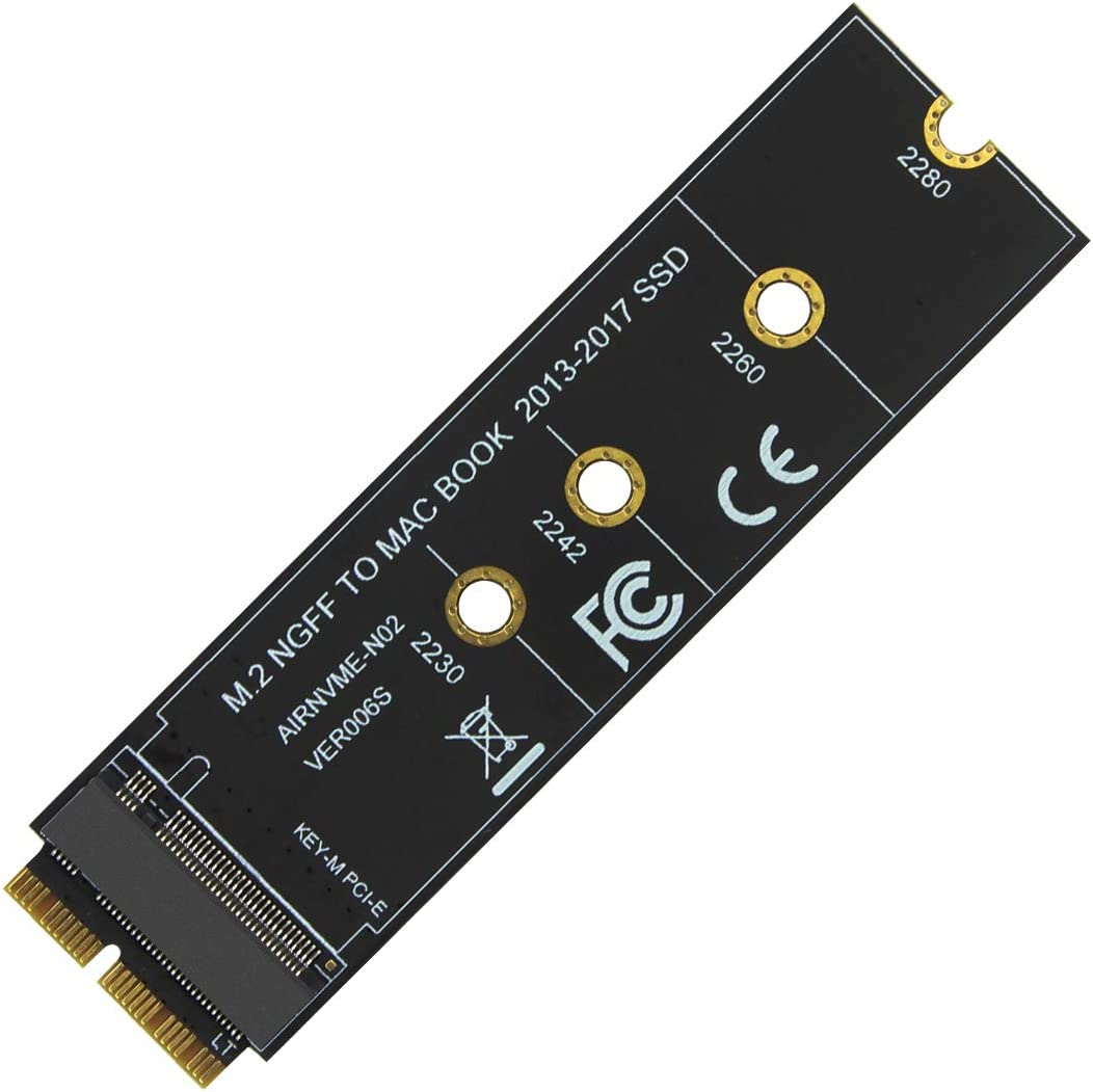 BGNing M Key M.2 PCIe X4 NGFF AHCI 2280 SSD 12+16Pin Adapter Card as SSD for MacBook Air 2013 2014 2015 A1465 A1466 Mac Pro A1398 A1502