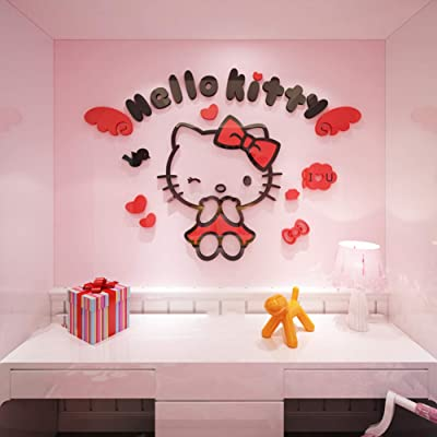 YOURNELO Kid's Decorative Cute Cartoon Hellokitty Livingroom Waterproof PMMA 3D Stereo Wall Sticker Peel & Stick Wall Art (D-Red, X-Large): Baby