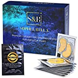 Rejuvenating 24K Gold Eye Mask - Collagen Eye Pads for Under Eye Bags Treatment Anti Aging (17 Pairs) | Naturally Hydrates & Reduce Puffiness, Dark Circles, Wrinkles | Bonus: FREE Cleansing Black Mask