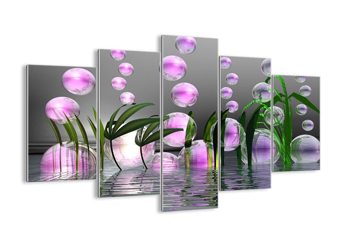 Quadro su vetro - cinque 5 tele - larghezza: 125cm, altezza: 70cm - numero dell'immagine 2329 - pronto da appendere - elementi multipli - Arte digitale - Moderno - Quadro in vetro - GEA125x70-2329 ARTTOR