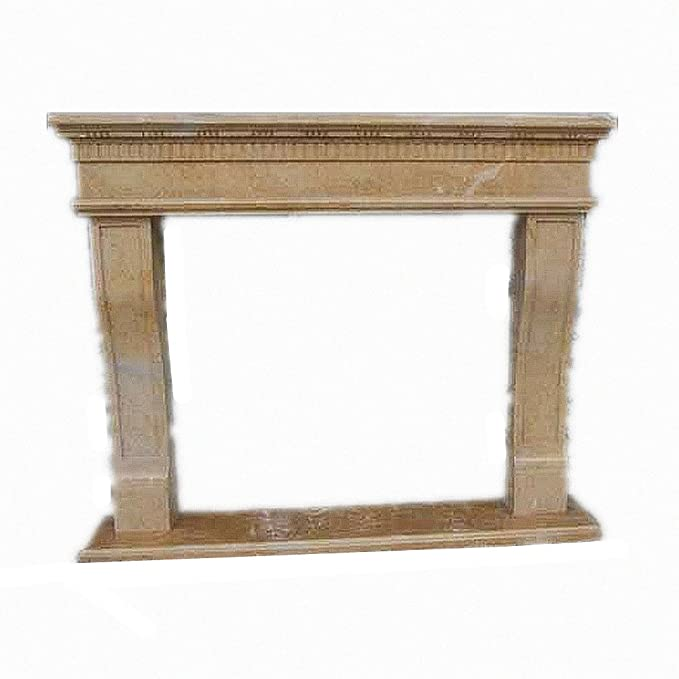 "MCM3 Polished Nature Stone Fireplace Mantel,Beige Limestone,67""x55""x11.8"""