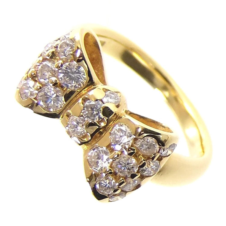 リボンモチーフ リング指輪 7.0g K18/ダイヤモンド ダイヤ0.80ct 9号 レディース 中古 B07BVVF8MY