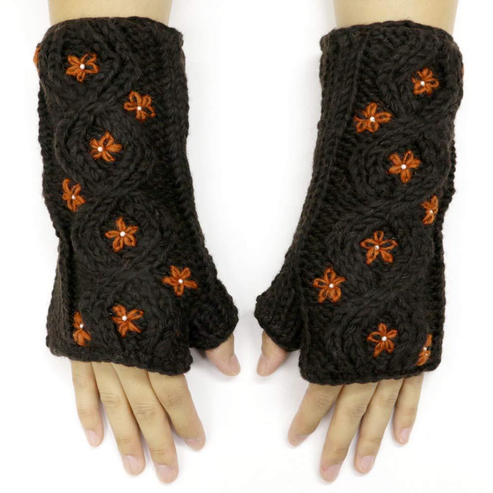 CFrost Women's Hand Knit Small Flower Pattern Fingerless Arm Warmer Gloves