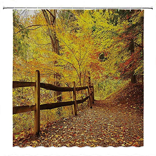 SATVSHOP Shower-Curtain Easy-to-Install-Comes-with-Magnets-at-The-bottomLandscape-Autumn-Season-Fall-TRE-Leav-on-Pathway-to-for-t-with-Fence-Photo-Ginger-Yellow-Marigold.W72-x-L84-inch
