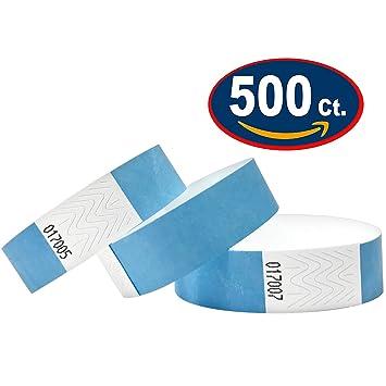 5025c7397eeb Tyvek Pulseras – 500 unidades – Tyvek pulseras para eventos (Azul claro,  500 Pack)