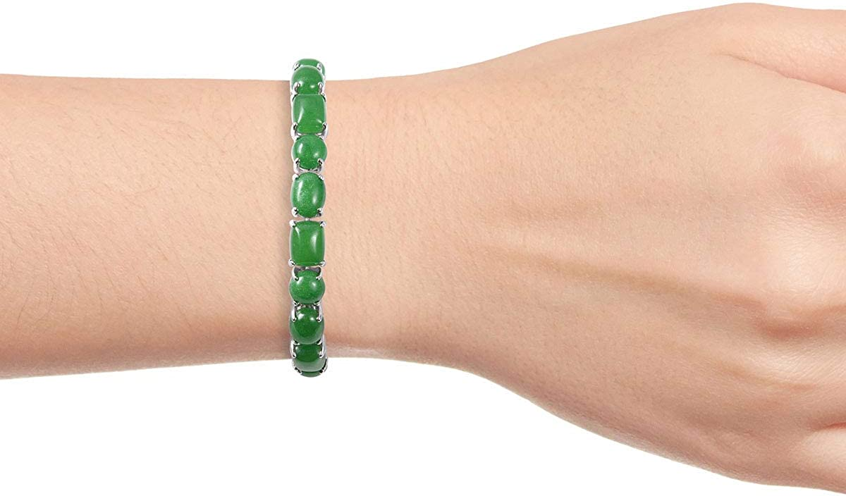 925 Sterling Silver Cushion Green Jade Bridal Tennis Bracelet for Women 6.5 Jewelry Gift