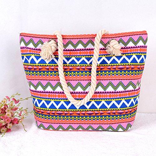 De handle Bolsa Con Red Dibujos Zhhlaixing Geometría Para Mujeres Lienzo Bolsos Grande Top Playa Hombro Compras q8Uw1Bvgn