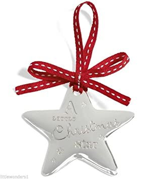 mamas papas christmas tree decor silver plated star - Silver Plated Christmas Tree Decorations