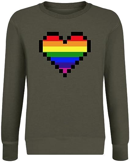 Coeur De Pixel Arc En Ciel Rainbow Pixel Heart Sweatshirt