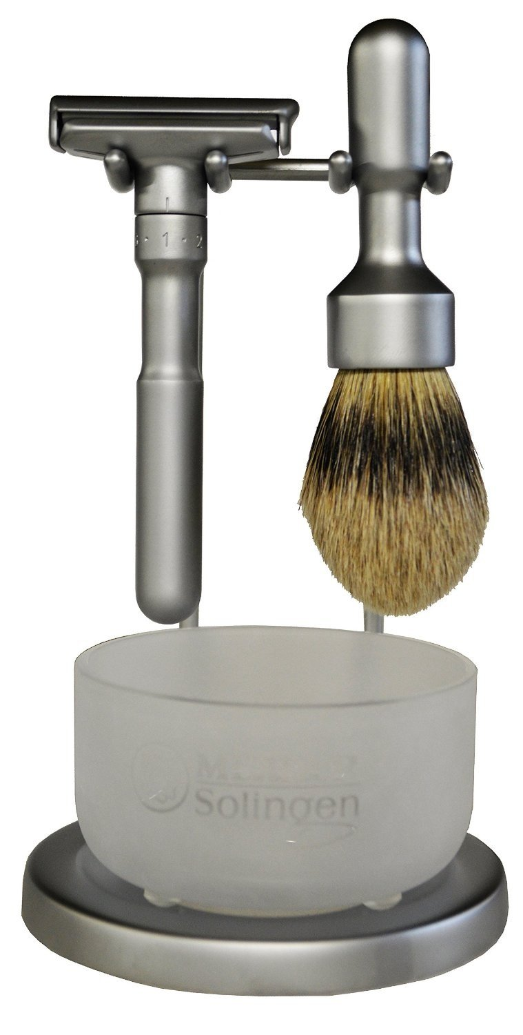 Merkur Futur Shaving Stand for Futur Brush and Futur Double Edge Razor -- Come with Merkur Frosted Glass Bowl