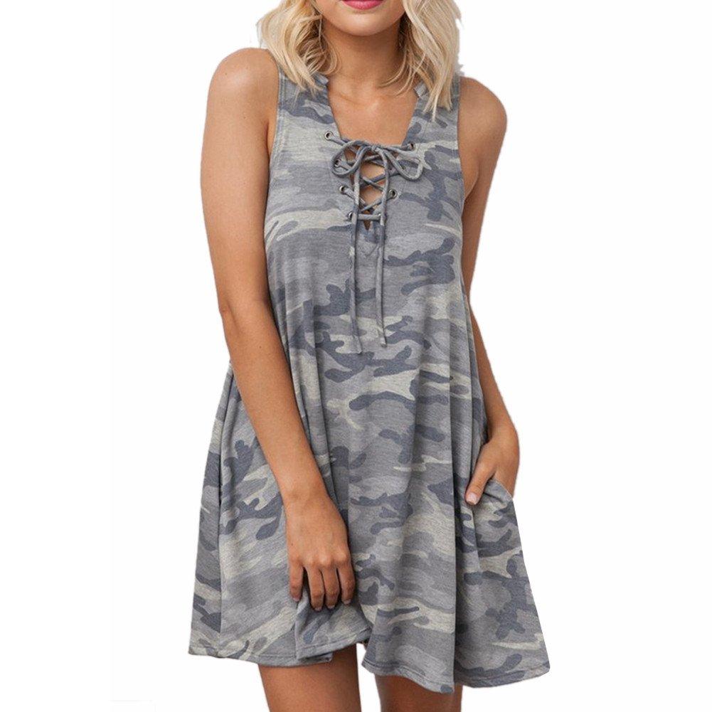 4c3696989f1f9 win-full Women's Sleeveless Dress Camouflage Print V Neck Cami Swing Dress  with Pocket at Amazon Women's Clothing store: