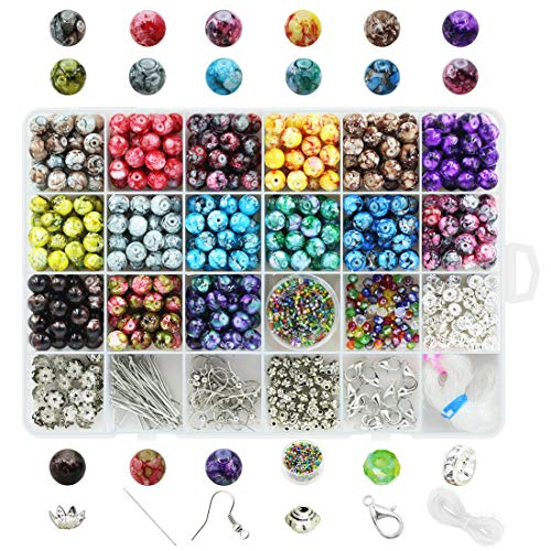 Beads for Jewelry Making Adults 8mm Assorted Colors Handcrafted Crackle Round Glass Beads 375pcs with Jewelry Accessories and Crystal Strings for Jewelry Making with Free Container Box