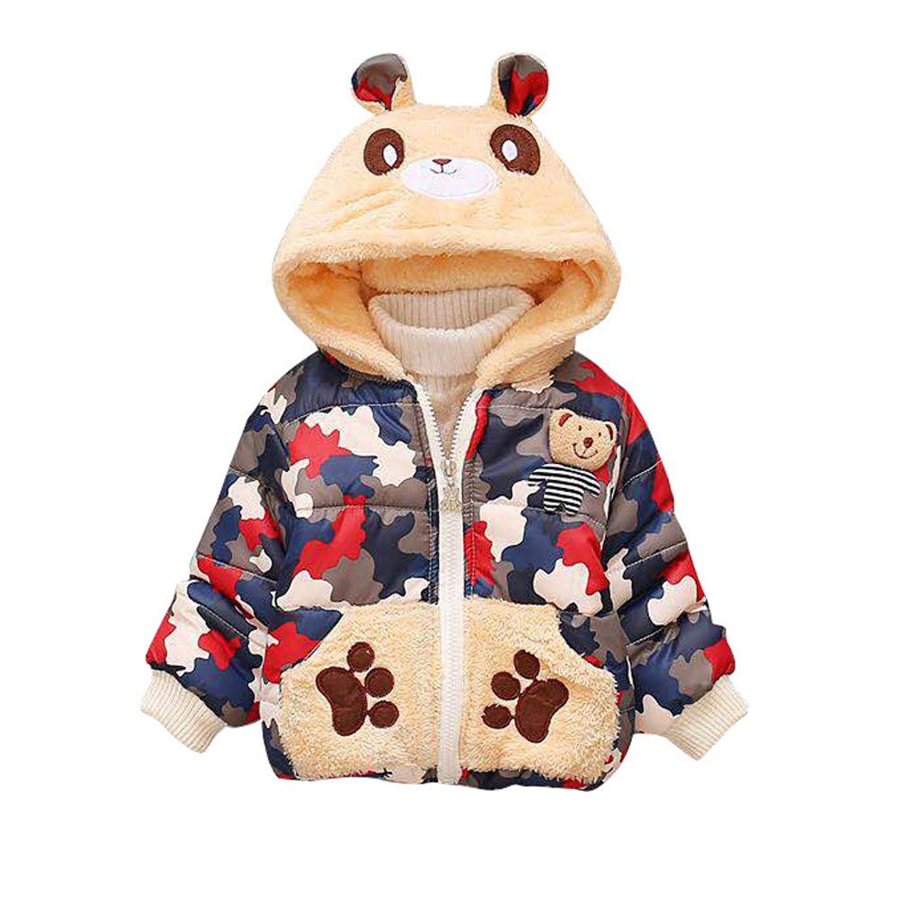 WARMSHOP Boys Girls Tops Coat,2018 Winter Warm Camouflage Print Cartoon Bear Thick Zipper Hooded Windproof Coat Jacket China