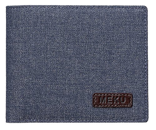 Zipped Coin Pocket (MEKU Men's RFID Blocking Slim Bilfold Canvas and Leather Wallet with Coin Pocket 2 Bill Sections Blue)