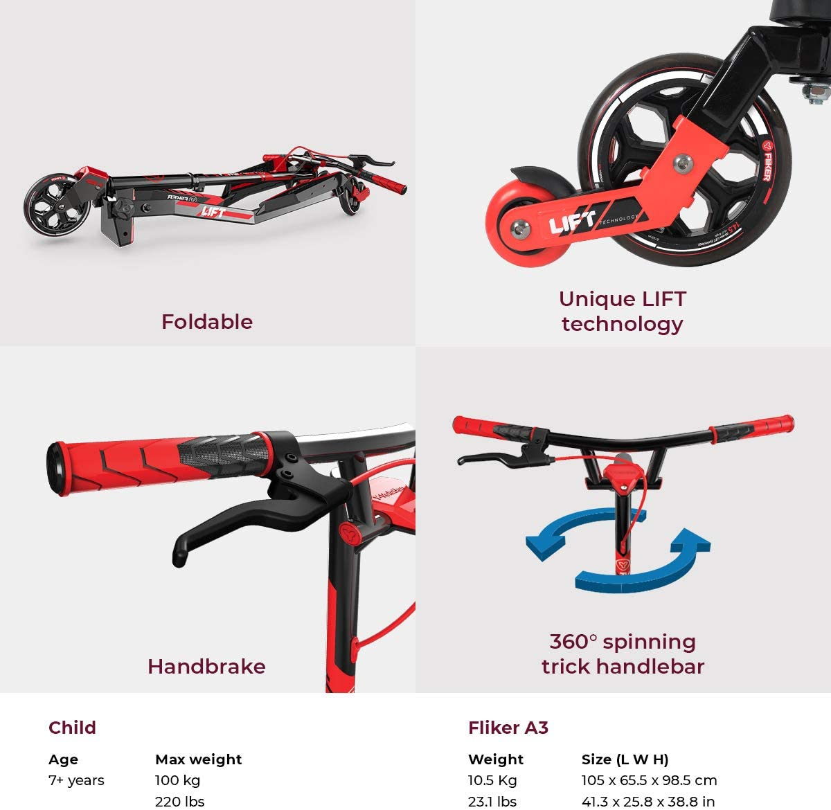 Amazon.com: Yvolution Y Fliker Lift - Patinete para niños de ...